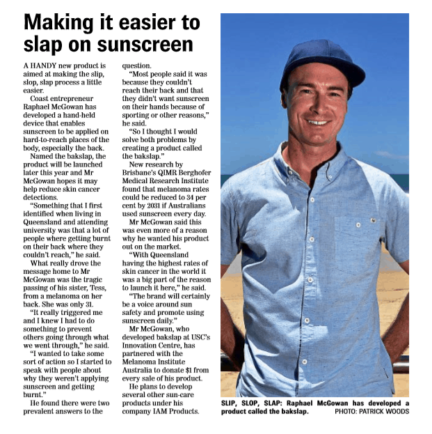 Sunshine Coast Daily - bakslap news on reducing the risk of melanoma